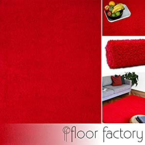 "Modern Shaggy Rug Colors red 140x200cm (6'7""x4'7"") - 6 Sizes and 12 Colors Available by floor factory"