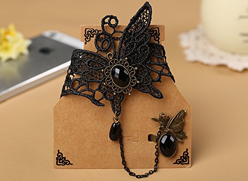 QTMY Black Butterfly Lace Ring Adjustable Bracelet Jewelry Set gift for women girl
