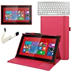 BIRUGEAR Hot Pink Slim-Fit Hard Shell Leather Folio Stand Case w/ Keyboard, Screen Protector for Nokia Lumia 2520 - 10.1'' Windows RT 8.1 Tablet ( Hot Pink Case )