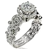 Diamond Engagement ring 1.6ct 14K White gold solitaire halo 10.5mm wide vintage
