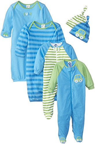 Gerber Baby-Boys Newborn Seriously Cute 6 Piece Sleepwear Essential Gift Set,Blue,sleep 'n play in 0-3 Months, Gowns and caps in size 0-6 Month