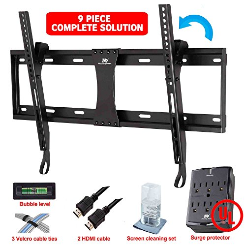 Mounting Dream MD2268-KT Tilt TV Wall Mount Bracket Kit Pack for most of 42-70 Inch LED, LCD and Plasma TV with VESA 200X100 to 600x400mm, Loading Capacity 132 lbs, 0-10 Degree Forward Tilt, Including one 6 Outlets Surge Protector (UL Listed), two 6 ft HDMI Cables, 3 Velcro Cable Ties, 100ml Anti-static Screen Cleaning Gel and Magnetic Bubble Level (for Samsung, Sony, Toshiba, Vizio, Sharp, TCL 42, 47, 48, 49, 50, 51, 55, 60, 64, 65, 70 inch TV)