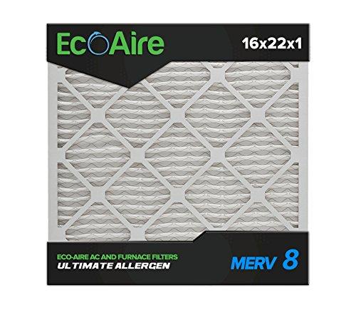Eco-Aire 16 x 22 x 1 Premium MERV 8 Pleated Air Conditioner Filter, 6 Pack