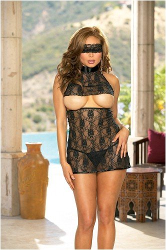 Plus Size Stretch Lace Babydoll and Matching Thong. Includes Matching Eye Mask