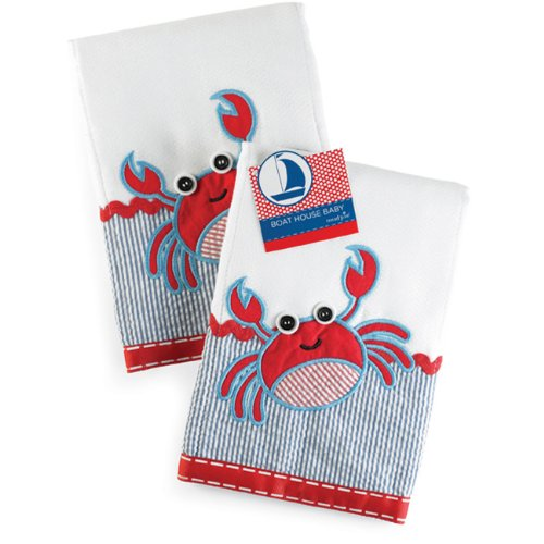Mud Pie Boathouse Baby Decorated Cotton Burp Cloth, Crab