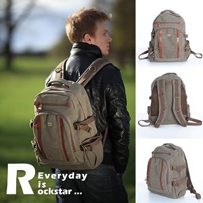 Troop London Brown Canvas Laptop Rucksack Backpack Bag leather trim 257BR