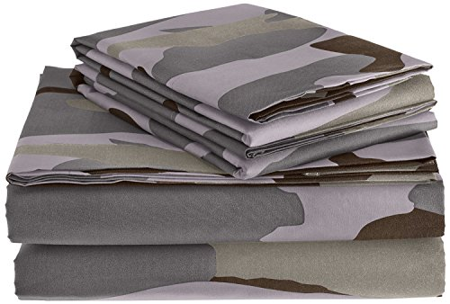 Clara Clark Premier 1800 Collection Camouflage Printed Design Bed Sheet Set, Full, Gray (Camouflage Sheets Full compare prices)