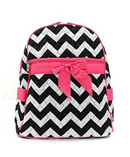 Quilted Black And White Chevron Medium Backpack With Hot Pink Accents