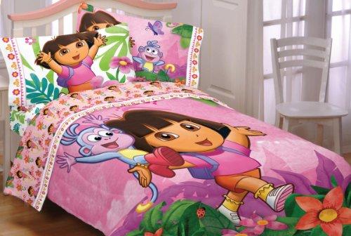 Stunning  pieces Dora the Explorer Run Skip Jump Full Bedding Set