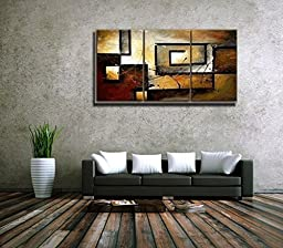 Mars Art 100% Hand Painted Oil Painting Abstract Art Large Modern Art 3 Piece Wall Art Canvas Art for Home Decoration (UnStretch/UnFrame)