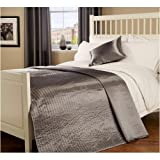 King Quilted Passionate Faux Silk Bedspread in Silver