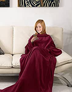 napa soft cozy wearable microplush fleece blanket with sleeves and front pockets. Black Bedroom Furniture Sets. Home Design Ideas