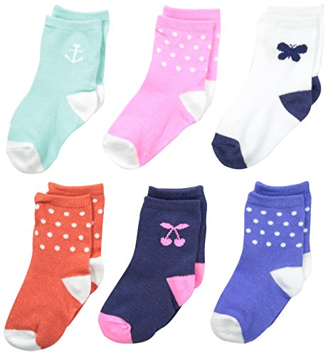 Carter's Baby-Girls Newborn 6 Pack Cherry Anchor Butterfly Computer Socks