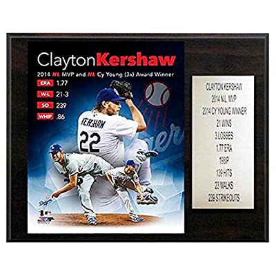 C and I Collectables MLB 15W x 12H in. Clayton Kershaw 2014 MVP Los Angeles Dodgers Player Plaque