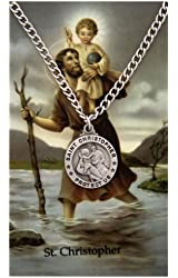 Round St. Christopher Medal with Prayer Card