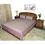Amita's Home Furnishing Embroided Red & Gray Color Cotton Bed Linen