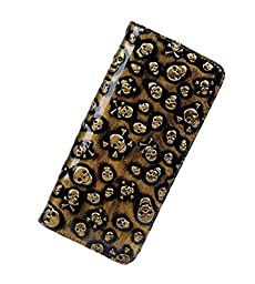 Vintage Leather Wristlet Skull Head Rivet Retro Punk Wallet for Women Zip Around Designer Clutch Purses (Gold)