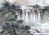 """""""Spring Returns to the Mountain"""" Oriental Waterfall Landscape, Giclee Print of Original Sumi-e Painting, Various Sizes (20 x 30)"""