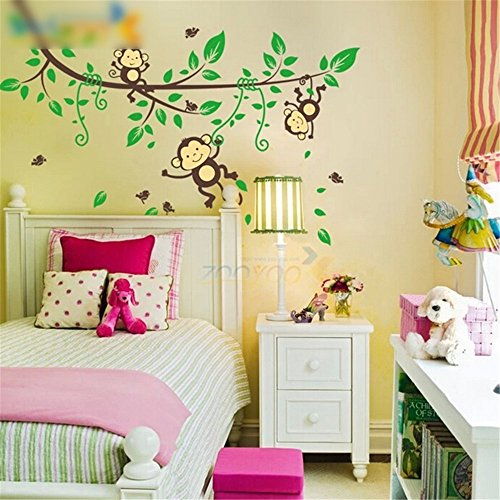 Lovely Cute Jungle Monkey Play Wall Stickers Decals Nursery Kids Room Decoration front-545200