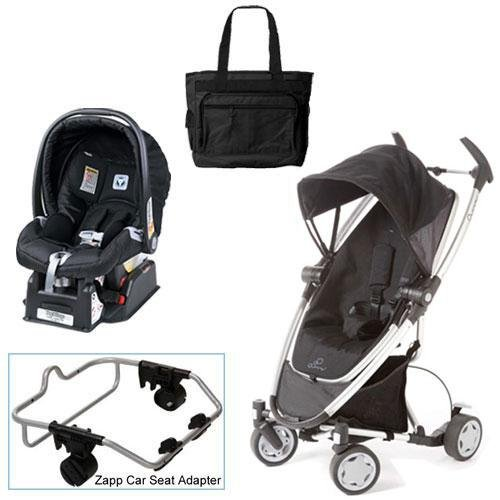 Quinny Rocking Black Zapp Xtra Travel System with Peg Perego Nero Black Car Seat Diaper Bag