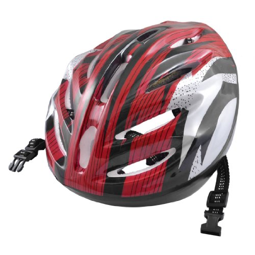 Como Adults Stripes Pattern Red Gray Black Foam Sports Cycling Skating Helmet