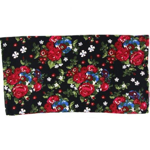 Black & Red - Rose Bunch - Multi-Functional Seamless Head Wear - Sports Tube - Neckerchief - Headband - Balaclava - Scarf - Hairband - Mask