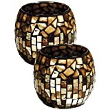 Dale Tiffany Set Of 2 Amber Shell Mosaic Candle Holders