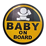 BABY ON BOARD 赤ちゃん 乗車中 12cm マグネット ステッカー ( イエロー )( 外貼り デザイン )