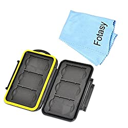 Fotasy MCXQD Professional Rubber Sealed and Water Proof Memory Card Case fits 6 x XQD Cards with Premier Cleaning Cloth (Black)