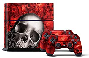 PS4 Designer Skin for Sony PlayStation 4 Console System plus Two(2) Decals for: PS4 Dualshock Controller - Bones Red