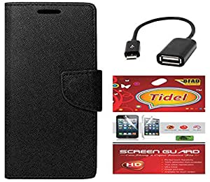 Tidel Premium Table Talk Fancy Diary Wallet Flip Cover Case for Micromax Canvas Nitro A310 (Black) With Tidel Screen Guard & Micro OTG Cable