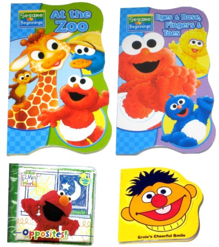 """4 Sesame Street Books For Kids - Two (2) Sesame Street Board Books (""""Bubbles, Bubbles"""" And """"At The Zoo""""), One (1) Bath Time Bubble Bool """"Opposites!"""", And One Foam Book """"Ernie'S Cheerful Smile"""""""