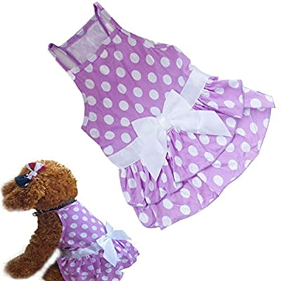 Binmer(TM)New Dog Clothes Puppy Dog Princess Dress Summer Sweet Dog Camisole Skirt Pet Dog Bowknot Tutu Dress
