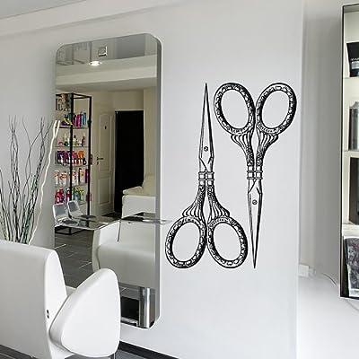 Wall Decal Vinyl Sticker Decals Art Decor Design Hair Salon Scissors Retro Curls Beauty Hair Stylist Bedroom Fashion Barber Cosmetic (M1531)