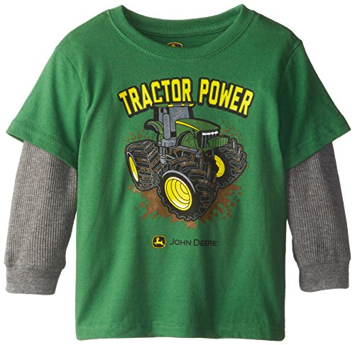 John Deere Little Boys' Tractor Power Thermal Layered Tee, Green, 2T front-845373
