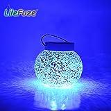 LiteFuze Mosaic Glass Rechargeable Solar Lamp Outdoor Garden Light - Blue
