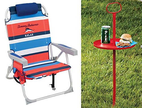 Tommy Bahama 2015 Backpack Cooler Chair with Portable Table (1 red chair with red table)