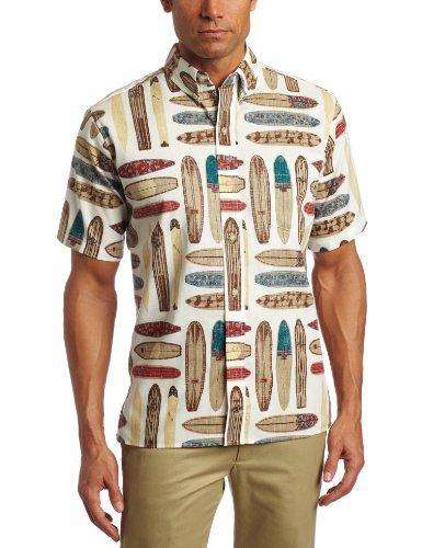 Reyn Spooner Men's Longboard Aha Shirt, White, X-Large