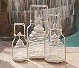 3 Piece Lighting and Wall Dcor Glass Lantern Set