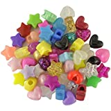 Plastic Bead Heart and Star Mix Qty 100