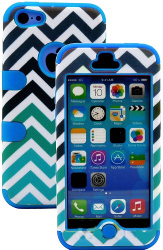 Mylife (Tm) Sky Blue + Colorful Chevron Print 3 Layer (Hybrid Flex Gel) Grip Case For New Apple Iphone 5C Touch Phone (External 2 Piece Full Body Defender Armor Rubberized Shell + Internal Gel Fit Silicone Flex Protector + Lifetime Waranty + Sealed Inside