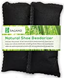 Best Activated Charcoal Shoe Deodorizer By Sagano - 2x All Natural Activated Charcoal Odor Absorbers - Stop Stinky Feet and Smelly Socks - Prevents Mold and Bacteria - Smoke Smell Remover
