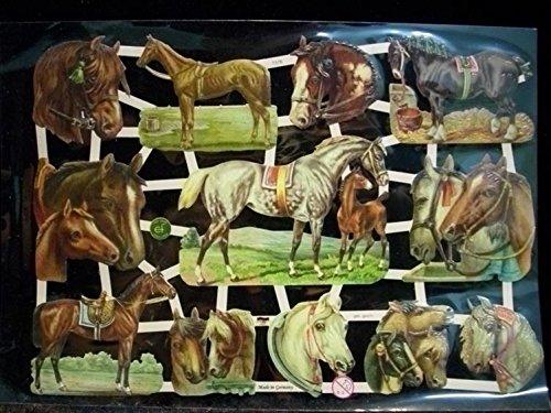 1 Bogen Glanzbilder 059 Pferde Pferd Horse reiten Posie Bild Deko Scrapbook