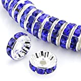 Adabele 100 5mm Silver Plated Copper Rondelle Spacer Bead Sapphire Blue Swarovski Crystal 4mm 5mm 6mm 8mm 10mm 12mm