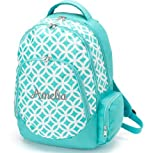 aBaby Sadie Backpack, Aqua, Name Amelia