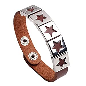 Amazon.com: ShiningDeals Jewellery The Nepali US Star leather bracelet