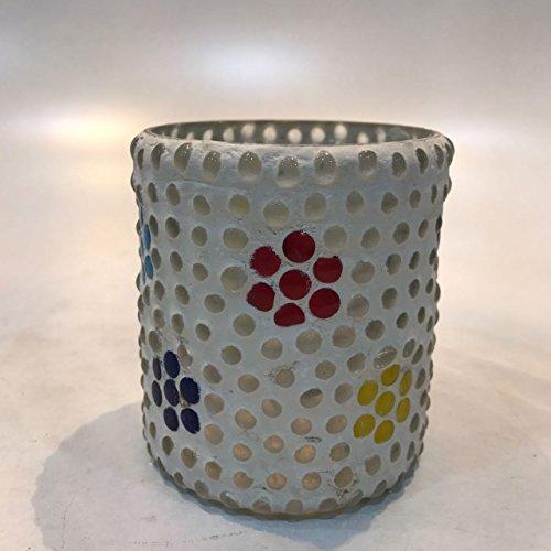 Dlite Crafts Multicolor Polka Design Home Decorative Votive Candle Holder, Set Of 2 PCs - B06XZKV59X