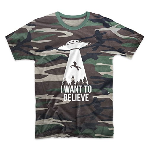 I Want To Believe Aliens UFO Camuffare Uomo T-Shirt Maglietta Camo X-Large