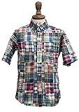 THE BAGGY ボタンダウンパッチワークマドラスチェック半袖シャツ[INS1040]