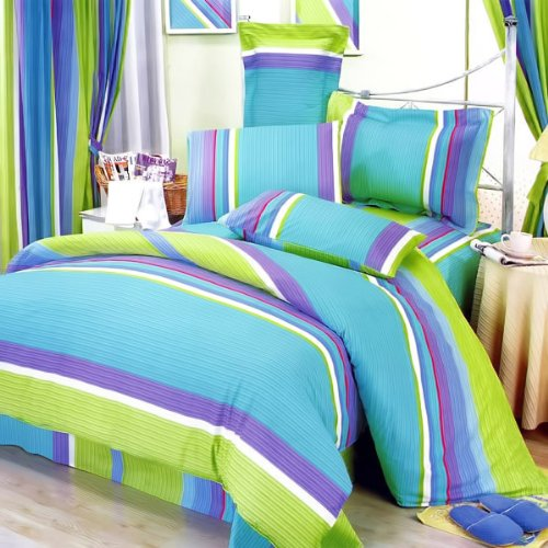 Blancho Bedding - [Rhythm of Life] 100% Cotton 5PC MEGA Comforter Cover/Duvet Cover Combo (Twin Size)
